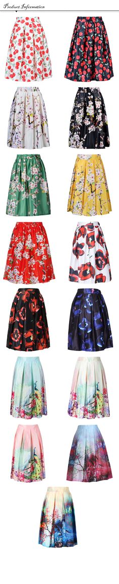 Women's Pleated Vintage Skirts Floral Prin