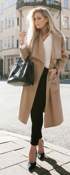 City Chic Camel Coat Outfit Idea