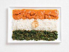 national flag made food drapeaux du monde version food Inde – poulet au curry, riz, cheera thoran