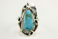 Native American Navajo Sterling Silver Turquoise Ring Size 6 By Roberta Begay by LoudCrowTrading on Etsy
