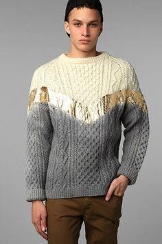 Rag Union x Urban Renewal Ombre Foiled Fisherman Sweater