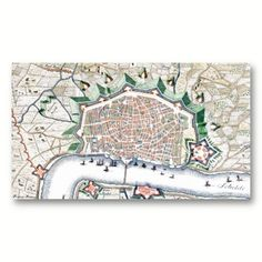 Antique Map of Antwerp Cartography Business Card