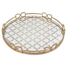 Featuring a gold-hued frame and mirrored trellis motif, this lovely tray is the perfect entryway catch-all or dining table centerpiece.   ...