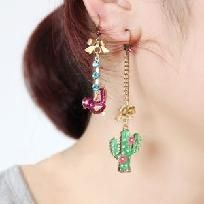 NWT- Betsey Johnson 'Flights of Fancy' Mismatched Linear Cactus + Bird Earrings- Free Ship + No Fees