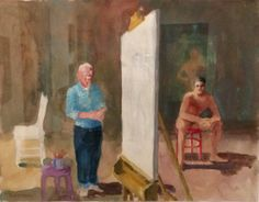 Paul Wonner, 1920-2008 artist and model resting, circa 2001 acrylic and pencil on paper @ Omca