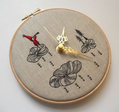 Embroidered Linen Folk Tale Wall Clock  Limited by themasonbee, £75.00