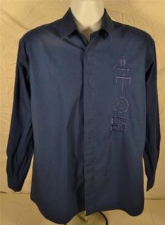 Policy Studio Size Large Long Sleeve Blue 100% Cotton Shirt