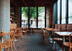 Perth cafe is a 'jewellery box' of classic Italian design - The Spaces Melbourne Restaurants, Melbourne Cafe, Brick Flooring, Concrete Floors, Brick Cafe, Forest Cafe, Days Cafe, Factory Lighting, Concrete Bench