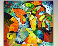Giclee art print from my cubist painting, canvas giclee print from my original abstract floral geometric painting - 24x36 by SallyTraceFineArt