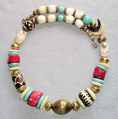 AFRICAN BRASS HORN, TURQUOISE, CORAL, BATIK BONE NECKLACE Ethnic Tribal Jewelry on eBay!