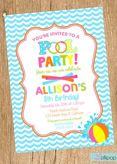 pool party free printable party invitation template greetings