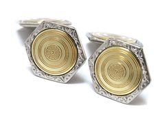 Art Deco Engine Turned 2 Tone Double Sided by RubyInTheDustVintage #rubyinthedust #rubyinthedustvintage #vintagejewelry #victorian #weddingjewelry #groom #bridegroom #somethingold #antiquejewelry #estatejewelry #weddings #mensstyle #edwardiancufflinks #2tone #artdeco #engraved #antiquecufflinks #weddingcufflinks #vintagecufflinks #1900s #cufflinks