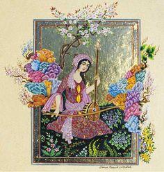 Vermilion Bird, Islamic Paintings, Magic Women, Islamic Art Calligraphy, Design Art, Art Drawings, Arts And Crafts, Miniatures, Illustration