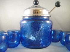 Blue Royal Lace Depression Glass Toddy or Hot by WishingWellsGlass, $240.00