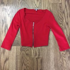 Red zip up crop top This has never been worn only tried on. Charlotte Russe Tops Crop Tops