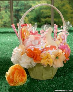 Paper Flowers  Paper flowers are a fun project to do with your child; use them to decorate their Easter basket or arrange them in a centerpiece for the kids' table.