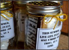 Smores Gifts in a Jar, wedding favors, perfect for our mason jar theme !