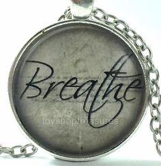 New QuoteInspirational Necklace - Breathe - Silver f Buddha Jewelry, Breathe, Jewellery, Detail, Glass, Silver, Jewels, Drinkware, Schmuck