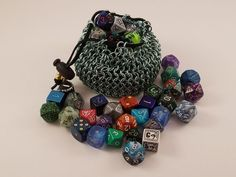 Seafoam green dice bag made by yours truly. #dicebag #chainmail #etsy #DIY #roleplaying #tabletop #gaming #gamers