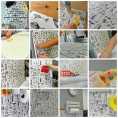 Empapelar una pared con papel normal.