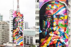 Over the last month, Brazilian muralist, Eduardo Kobra has been painting a mural on the side of a skyscraper in downtown San Paulo. The artist's colorful work is an abstract portrait tribute to the famous Brazilian architect Oscar Niermeyer, who passed away last year at the age of 104.