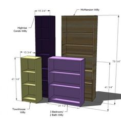 Ana White Build a Willy Bookcase in Four Sizes Free and Easy DIY Project and Furniture Plans Diy Wood Projects, Furniture Projects, Furniture Plans, Diy Furniture, Simple Furniture, Homemade Furniture, Carpentry Projects, Ana White Furniture, Simple Bookshelf