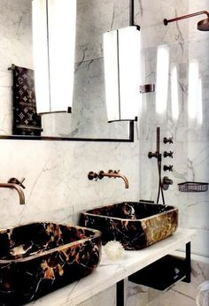 I would love those marble sinks in a rustic, wood cabinet and wood wall bathroom. I love the marble sinks. Bad Inspiration, Bathroom Inspiration, Interior Inspiration, Interior Decorating, Interior Design, Decorating Ideas, Bathroom Interior, Design Bathroom, Bathroom Marble