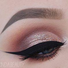 Rose gold glitter eye makeup #eyeshadow