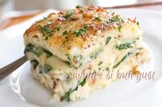Lasagna, Quiche, Mashed Potatoes, Paste, Breakfast, Ethnic Recipes, Whipped Potatoes, Morning Coffee, Smash Potatoes