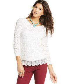 American Rag Pointelle-Knit Lace-Hem Sweater