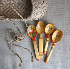 Pretty Russian wooded spoons.  I could make....