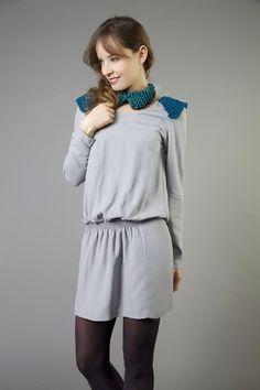 Robe Florence Parriel en soie et tulle pailleté tricoté sur les épaules www.florenceparriel.com