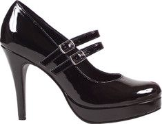 This design features two adjustable mary jane style straps. It has a high heel with a platform lift for extra height.