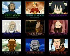 Avatar: The Last Airbender. I'd be Aang then (neutral good). Korra Avatar, Team Avatar, Satire, Legend Of Aang, Avatar Series, Iroh, Fandoms, Fire Nation, Nerd Love