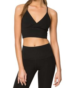 A little black crop style sport bra that's perfection for yoga class or can be paired with jean shorts for an everyday look, the Spiritual Gangster Surplice Bra is multifunctional. Spiritual Gangster, Yoga Inspiration, Everyday Look, Wrap Style, All Black, Bra, Clothes, Tops, Outfits