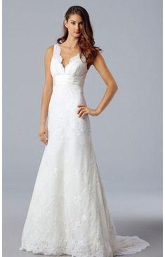 Spitze V Ausschnitt Kapelle Schleppe Elegant Hochzeitskleider 2012