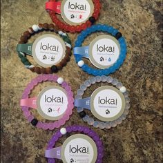 "6 Lokai Bracelets! Your choice Mix and match 6 Lokai Bracelets, sizes and colors! Colors available: blue, camo, clear, pink, purple, red, sizes: small, medium, large, XL. To purchase, comment the colors you need (for sizes small, medium, large, or XL). If you need a mix of sizes and colors, choose the ""mixed"" sizing option and comment both colors and sizes. Next day shipping Lokai Jewelry Bracelets"