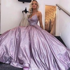 A-Line Spaghetti Straps Long Lilac Prom Dress Glitter Evening Dress Lilac Prom Dresses, Evening Dresses, Formal Dresses, Chromatic Aberration, Wedding Veil, Sherri Hill, Ball Gowns, How Are You Feeling, Plus Size