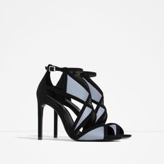 Zara - Black and blue grey suede heels. Zara Sandals, Blue Sandals, Women's Shoes Sandals, Shoe Boots, Heeled Sandals, Wrap Shoes, Fresh Shoes, Baskets, Black High Heels