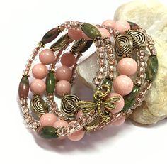 Unakite Jasper Bracelet - Jade Bracelet - Pink Wrap Bracelet - Memory Wire Bracelet - Charm Bracelet - Bohemian Jewelry TDC10011