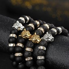 Wholesale Antique Silver Plated Buddha Leopard head Bracelet Lava Natural Stone Beaded Bracelets For Men Women Pulseras Hombre