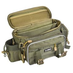 Fishing Tackle Bag This fishing bag is specially designed for fishermen. It includes a spacious main compartment and multiple external pockets, roomy enough to keep your standard fishing gear organized and ready for any fishing trip. The dual-zipper closu Gone Fishing, Best Fishing, Fishing Tips, Fishing Lures, Fishing Reels, Fishing Stuff, Fishing Storage, Fishing Tackle Bags, Tackle Box