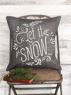 Christmas Pillow Cover Chalkboard Style Let it Snow by JolieMarche
