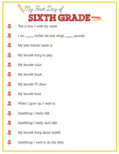 First Day of Sixth Grade Interview - Click image or link below to download - Positively Splendid {Crafts, Sewing, Recipes and Home Decor}