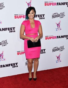 Demi Lovato at Vevo's certified SuperFanFest red carpet - October 8th