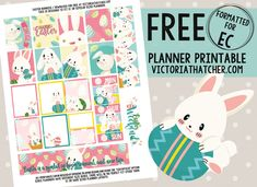 Free Printable Easter Bunnies Planner Stickers from Victoria Thatcher