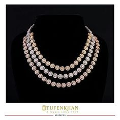 @tufenkjian. Yellow, White and Rose Gold; Become the ultimate winner with this diamond-studded necklace. #Tufenkjian #TufenkjianJewelry #Diamonds