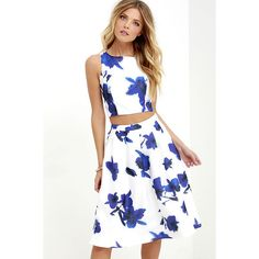 Just My Imagination Ivory and Blue Floral Print Two-Piece Dress ($74) ❤ liked on Polyvore featuring dresses, blue, long white dress, blue floral dress, white dress, blue sleeveless dress and two piece dresses
