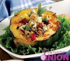 Wild Rice, Pear & Gorgonzola Stuffed Acorn Squash #recipe... a great #fall dish