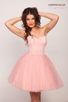 Sukienka gorsetowa tiulowa warstwowa COCO PUDROWY RÓŻ z wszytą halką